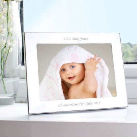Personalised Silver 5x7 Landscape Photo Frame